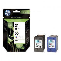 HP 21/HP22 Pack de 2 cartouches d`encre Noir et Trois couleurs (Cyan, Magenta, Jaune) grande capacité authentiques