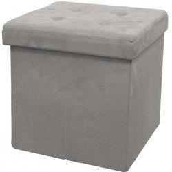Pouf coffre de rangement pliable 37,5x37,5x37,5 cm - suédine Gris Clair