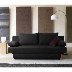 FINLANDEK Banquette convertible PIRY 3 places - Tissu noir - Classique - L 187 x P 88 cm