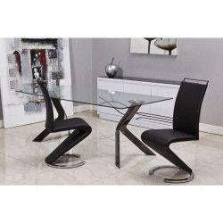 SIDNEY Lot de 2 chaises de salle a manger en métal - Simili noir - Contemporain - L 49,5 x P 61 cm