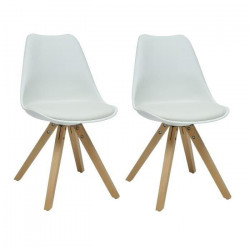 HANNOVER Lot de 2 chaises de salle a manger - Simili blanc - Scandinave - L 49,5 x P 61 cm