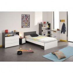 STANLEY Chambre enfant complete style contemporain décor blanc et gris ombre - l 90 x L 190 cm