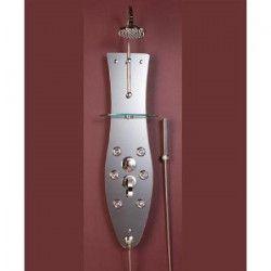 ROUSSEAU Colonne de douche hydromassante avec robinet mitigeur mécanique Dalhia Shiny - Effet miroir