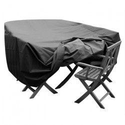 GREEN CLUB Housse de protection pour salon de jardin table + 6 chaises - 240x136x65 cm - Anthracite