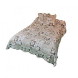 SOLEIL D`OCRE Couvre lit Boutis Olivia 220x240cm avec 2 taies d`oreiller