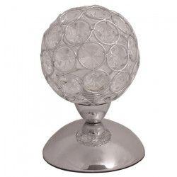 Lampe de chevet tactile boule en chromé et verre cristal ? Ø 10 cm