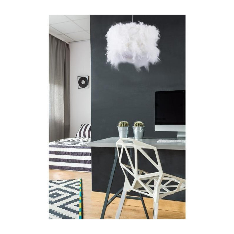 harfang lustre suspension en plumes 30x20 cm e27 40 w. Black Bedroom Furniture Sets. Home Design Ideas