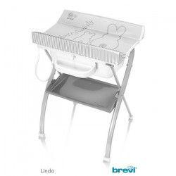 BREVI - Table a langer Lindo avec baignoire anatomique - Motif Lapinou Perle