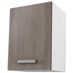 START Meuble de cuisine haut L 40 cm - Blanc et décor chene taupe