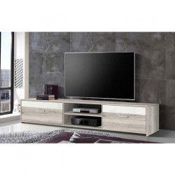 FINLANDEK Meuble TV KATSO contemporain décor chene cendré et blanc brillant - L 160 cm