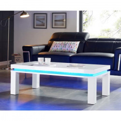FLASH Table basse avec LED bleu 120x60 cm - Laqué blanc brillant