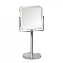 GERSON Miroir sur pied grossissant - Transparent et chromé - 12x12 cm - H29 cm
