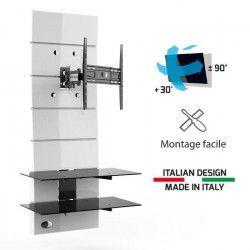 MELICONI Meuble TV support orientable 32 a 63` (81-160 cm) - Jusqu`a 30 kg - Blanc