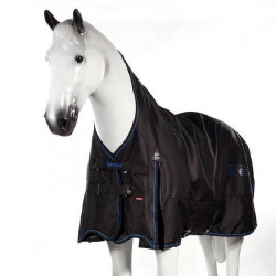 HORZE Couverture de pluie doublée polaire pour chevaux Avalanche - Taille 145 - Noir