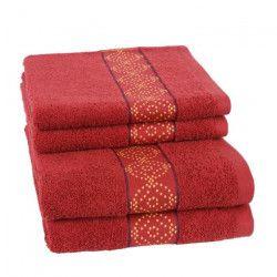 JULES CLARYSSE Lot de 2 draps de bain + 2 serviettes de toilette ORIENTAL - Rouge