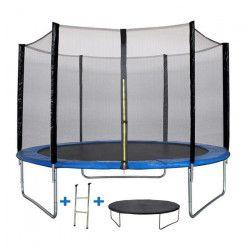 Trampoline MAXI ECO Ø 300 cm Bleu - Avec Filet, Echelle, Couverture de Protection