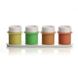 Ensemble 4 tasses a thé et plateau Boly Tea blanc, jaune, vert, moutarde et orange