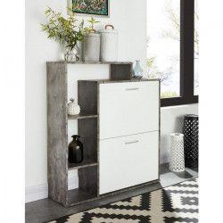 LILY Meuble a chaussures scandinave blanc et effet béton - L 85 cm
