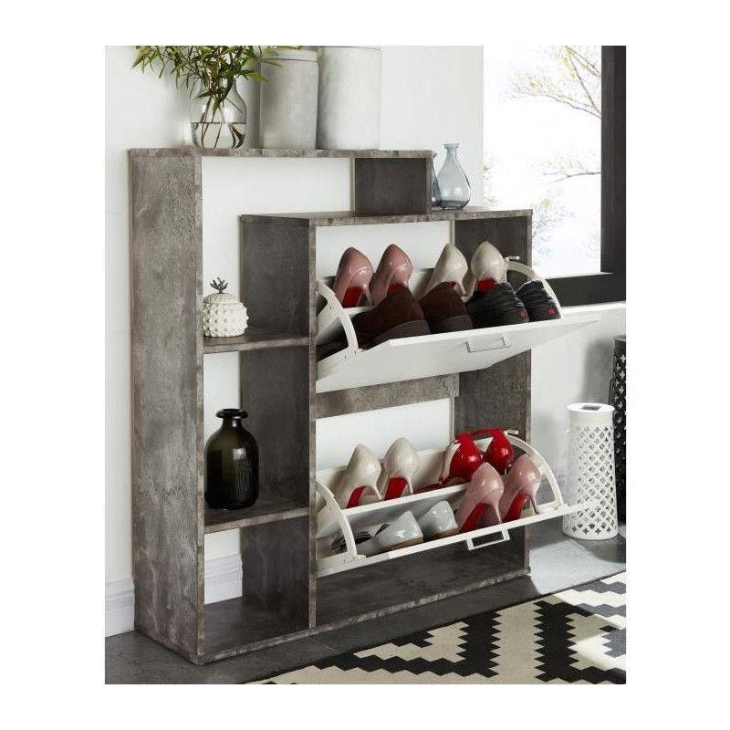 Lily Meuble A Chaussures Scandinave Blanc Et Effet