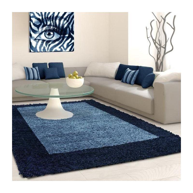 Life tapis de salon shaggy 160x230 cm bleu nuit for Salon bleu nuit