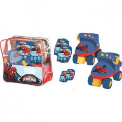 SPIDERMAN Rollers Réglables et protections (taille 22 a 29) (Patins + Genouilleres + Coudieres)