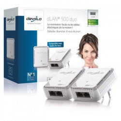 DEVOLO Kit 2 CPL 500 Mbit/s, 2 ports Fast Ethernet Modele 9105 dLAN 500 Duo,