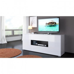 STAR Meuble TV haut contemporain blanc brillant et gris anthracite - L 160 cm