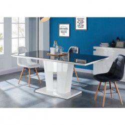 TREVISE Table a manger 8 personnes contemporain - Laqué blanc brillant + Plateau de verre trempé noir - L 180 x l