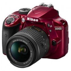 NIKON D3400 - Reflex numérique Débutant- Grand capteur DX de 24,2Mp - Vidéo Full HD - Bluetooth - Rouge +