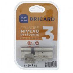 BRICARD TRIALS 17151 Cylindre 30+50 mm double entrée laiton nickelé