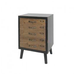 LOFT Meuble de rangement vintage marron + pieds bois pin massif - L 46 cm