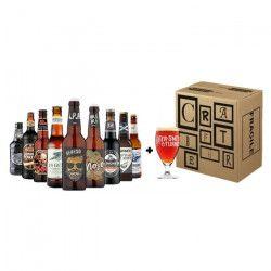 Box UK 9 bouteilles de bieres 33 cl + 1 verre