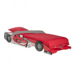 CASTELLET Lit voiture extensible enfant rouge et blanc verni mat - l 90 x L 190-200 cm