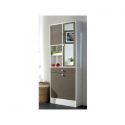 GALET Armoire de toilette L 60 cm - Blanc et taupe
