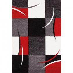DIAMOND Tapis de salon 200x290 cm rouge, gris, noir et blanc