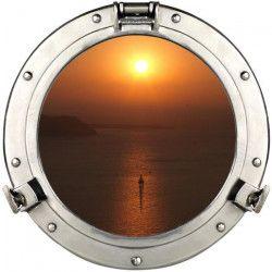 PLAGE Sticker Fenetre trompe l`oeil adhésive - Hublot coucher de soleil60x75 cm