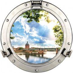 PLAGE Sticker Fenetre trompe l`oeil adhésive - Dome de la Grave60x75 cm