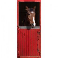 Sticker Adhésif de porte Ondoor - Ecurie rouge - 204 x 83 cm