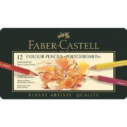 FABER-CASTELL Boîte Métal 12 Crayons Polychromos