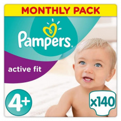 PAMPERS Active Fit Taille 4+ - 9 a 18kg - 140 couches - Format pack 1 mois