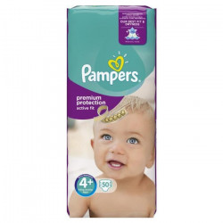 PAMPERS Active Fit Taille 4+ - 9 a 18kg - 50 couches