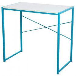 ZARO Bureau contemporain en métal - Blanc et bleu turquoise - L 80 cm