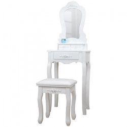 Coiffeuse classique en bois paulownia blanc + tabouret revetu de tissu blanc - L 50 cm