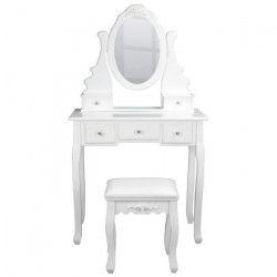 Coiffeuse classique en bois paulownia blanc + tabouret revetu de tissu blanc - L 80 cm