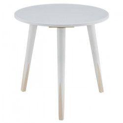 PENCIL Bout de canapé rond scandinave blanc et bois naturel - Ø 40 cm