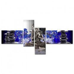 Tableau Déco Zen Bouddha Flowers - 130x65 cm