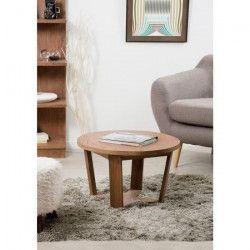 FANNY Table basse ronde classique en bois cannelle - D 65 x H 40 cm