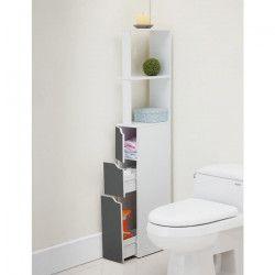 TOP Colonne de toilette L 15 cm - Blanc et gris mat