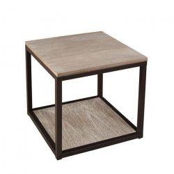 LALI Bout de canapé Industriel en métal et bois - L 49 x l 49 x H 49 cm