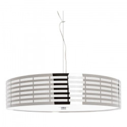 Lustre en lignes ajourées et chromées + diffuseur PVC - Ø 55 cm